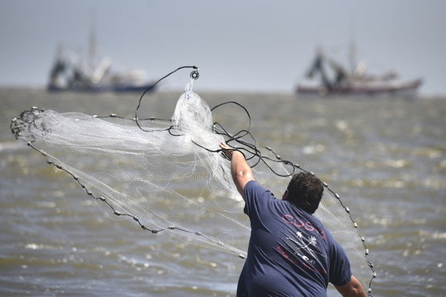 A fisherman tosses a cast net off St. Simons Island.