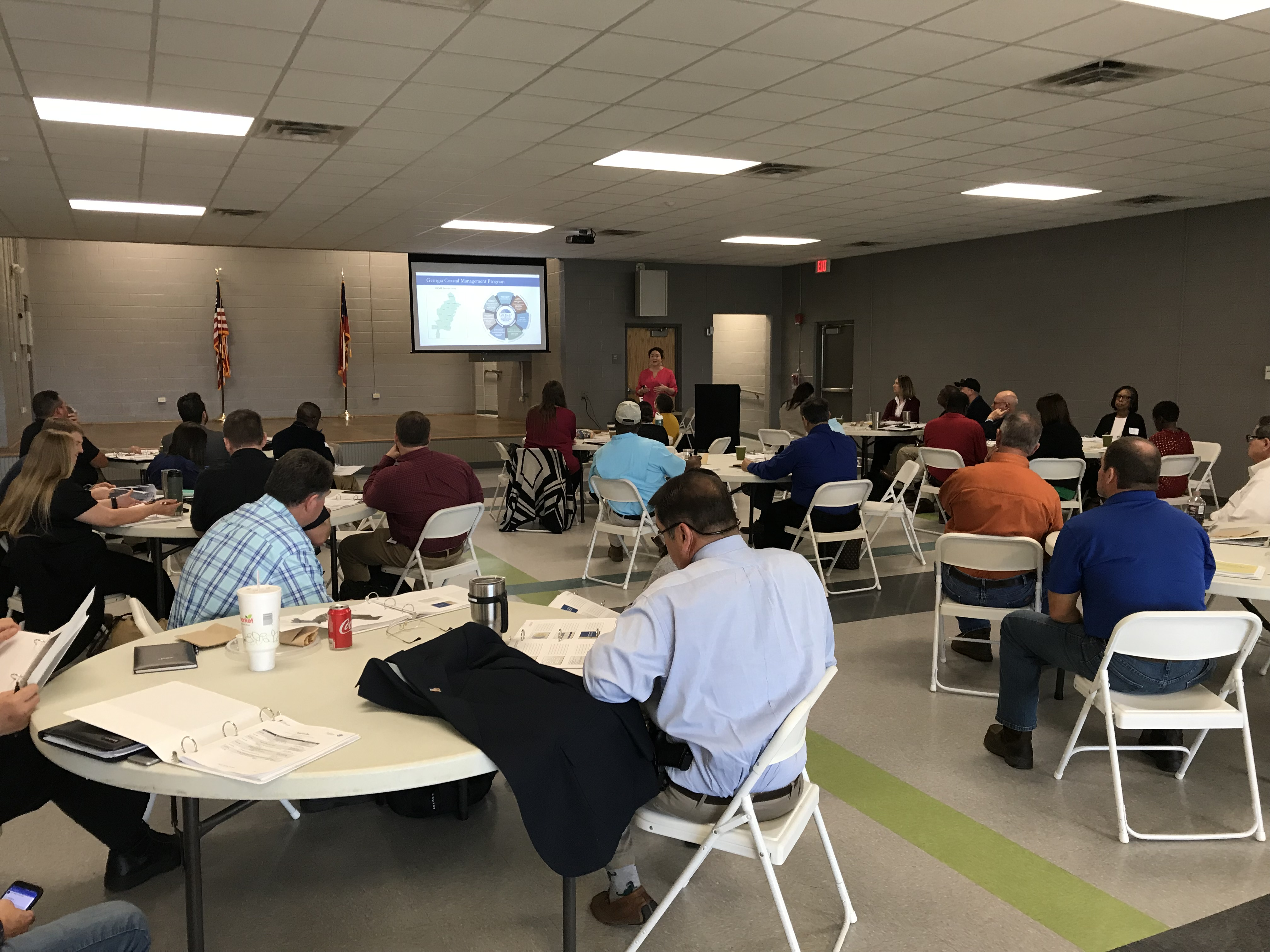 Stakeholders attend the Disaster Recovery and Redevelopment Plan meeting in February in Midway, Ga., in Liberty County.