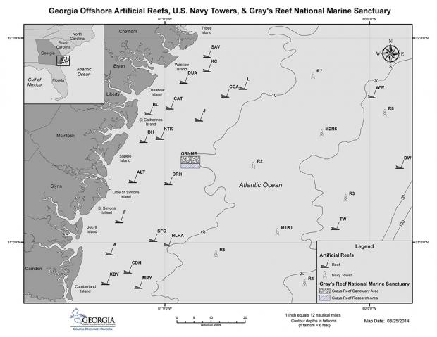 Georgias Artificial Fishing Reefs Coastal Resources Division - Large us map offshore numbers